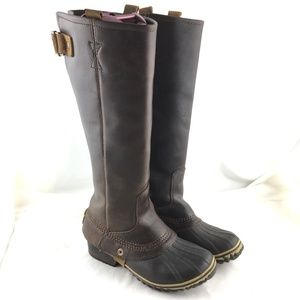 Sorel Slimpack riding boots tall brown duck winter